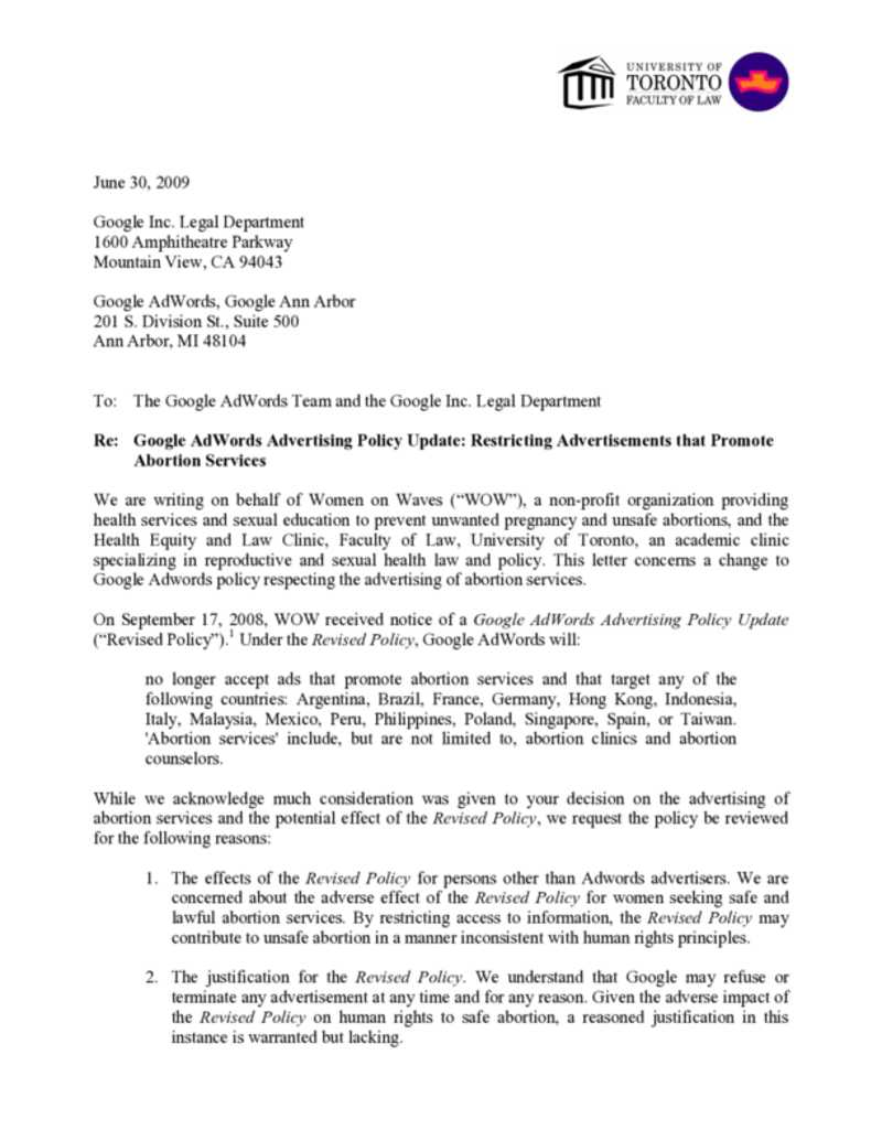 Pdf letter google women on waves for Advocacy letter template