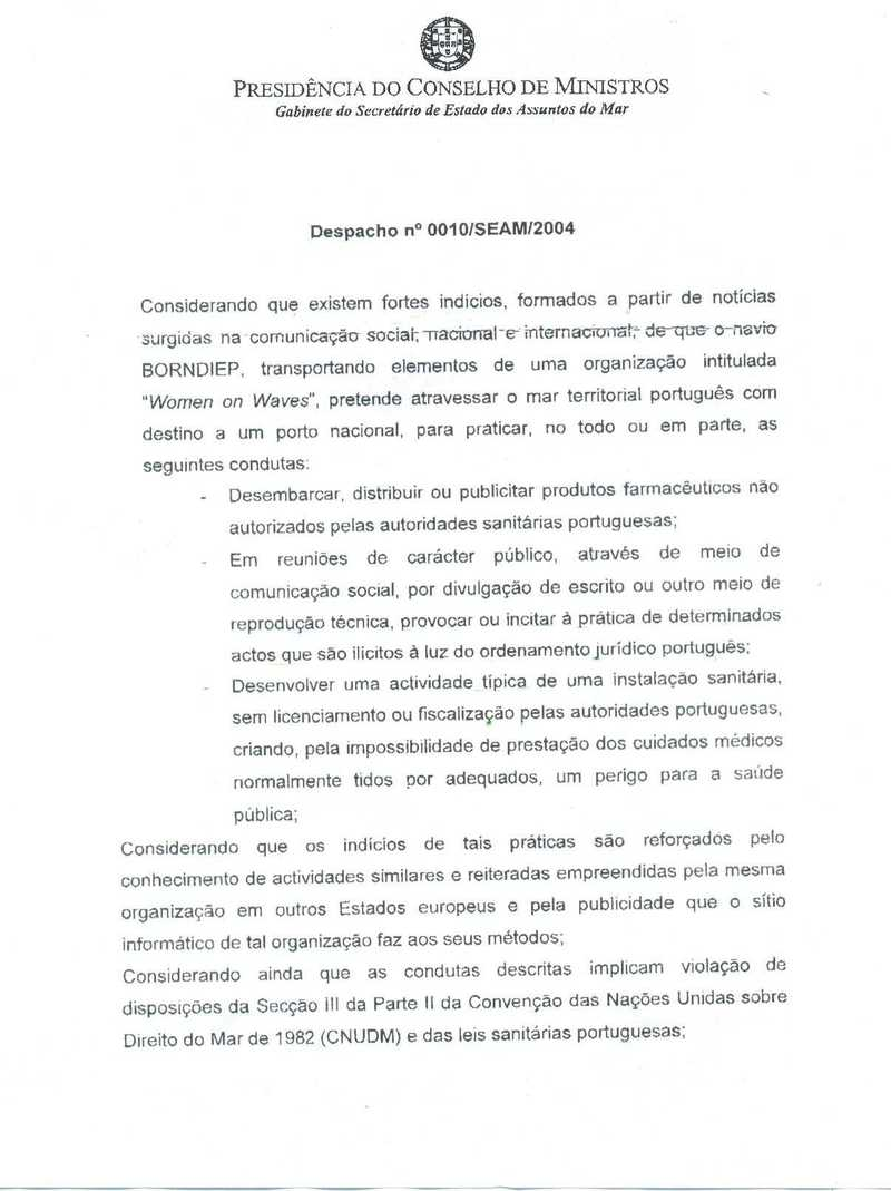 Statement nr. 0010/SEAM/2004 from the Presidency of the Council of Ministers of Portugal. page 1
