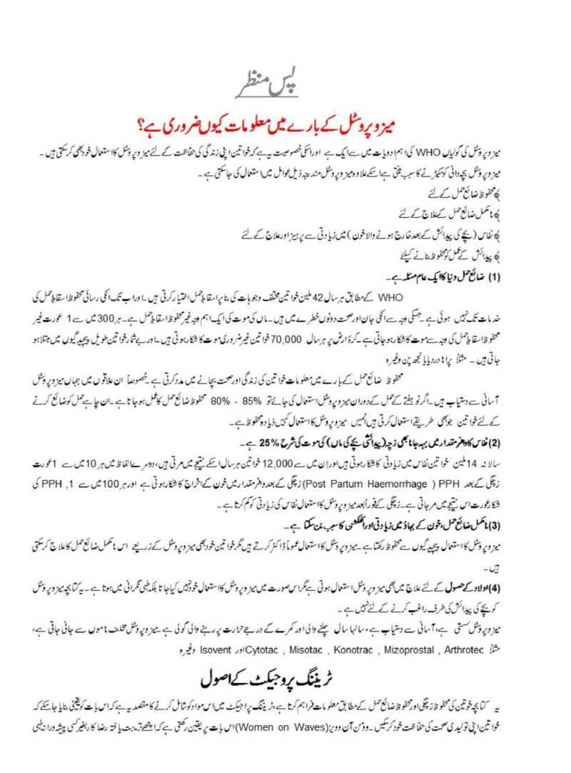 Urdu Training Manual Sexual Health Safe Abortion And Birth