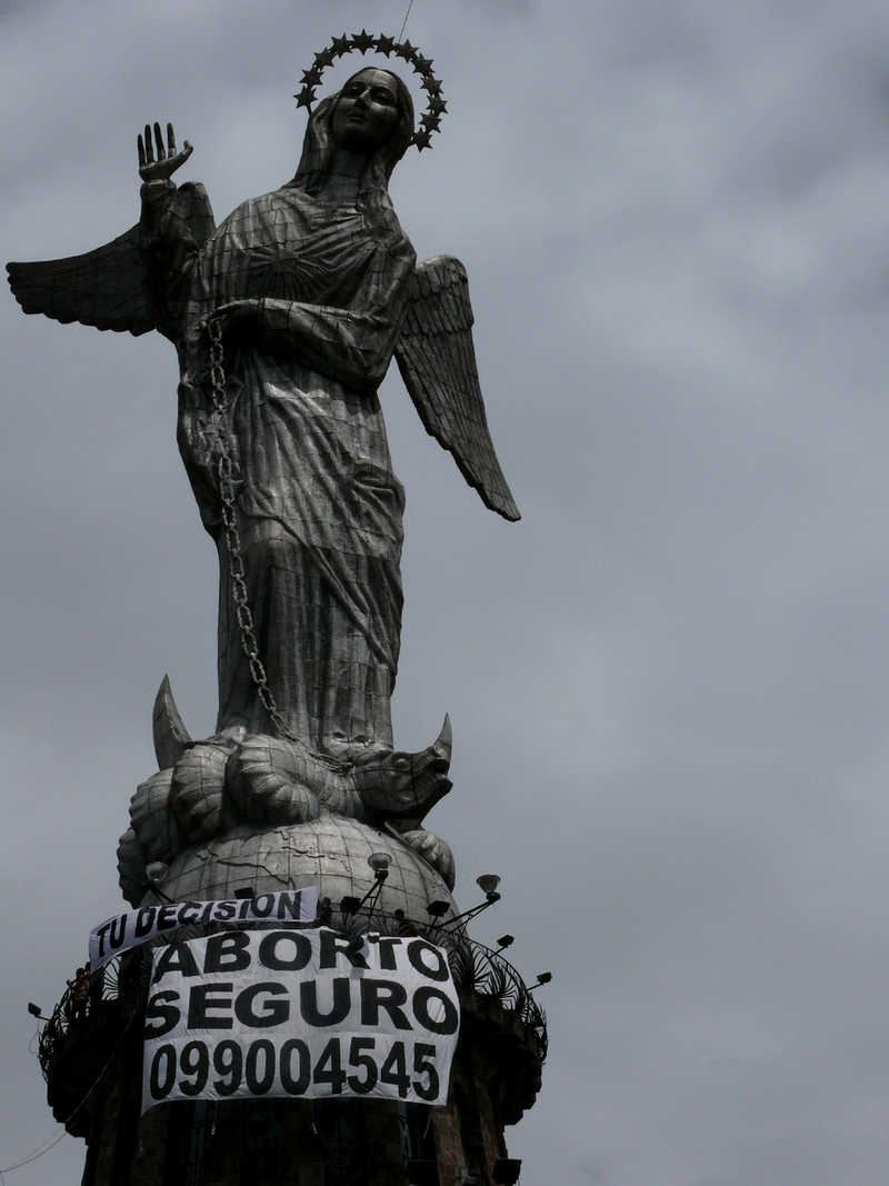 Virgin with banner, Quito