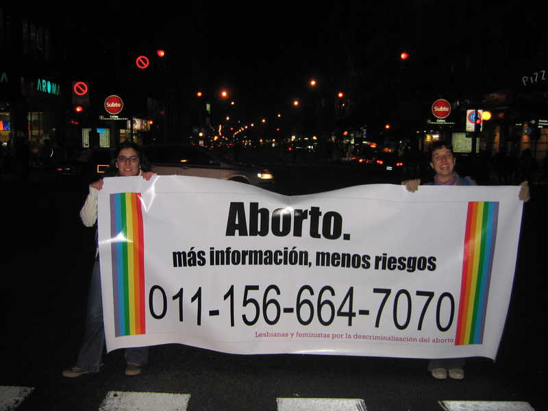 hotline banner, march in Buenos Aires