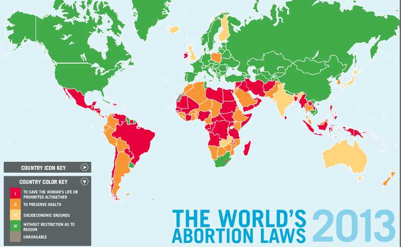 Abortion laws map, Center for reproductive rights.