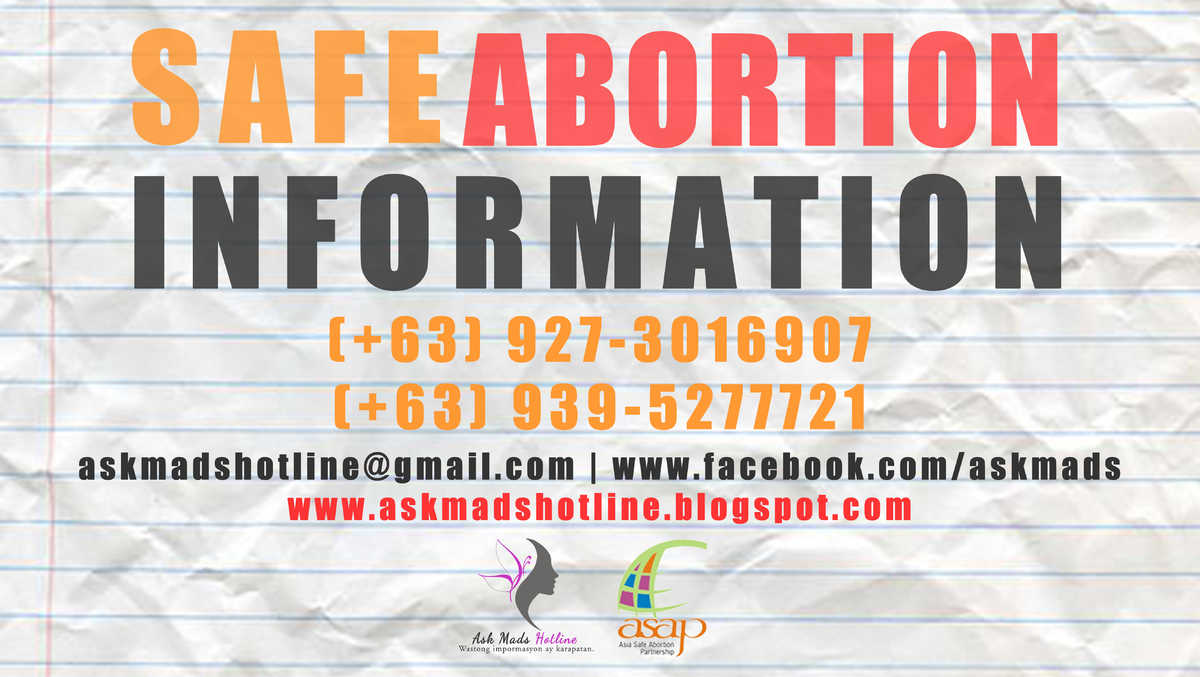 poster safe abortion hotlines phillipines